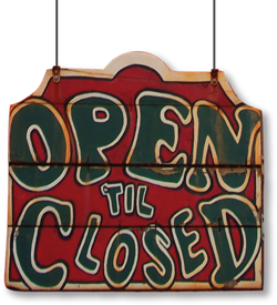 cuzzy's downtown open til closed sign